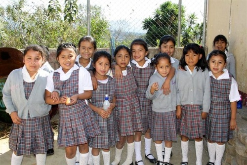 Female students of Guatemalan elementary school.